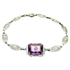Antique, Edwardian, Camphor & Amethyst Glass, Sterling Filigree Bracelet