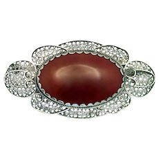 Antique, Edwardian, 1910 Netherlands Hallmark, Large Sterling Filigree & Carnelian Glass Brooch