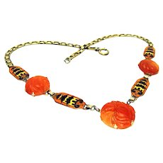 Vintage, Art Deco, Carved Lotus Carnelian Agate & Pagoda Enamel, Chinoiserie Necklace
