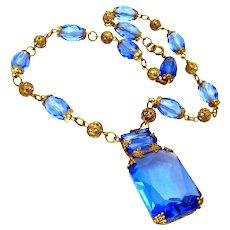 Vintage, Art Deco, Czech Signed, Architectural Blue Glass Collar Necklace