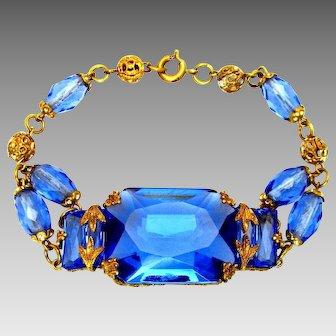 Vintage, Art Deco, Czech, Architectural Blue Glass Bracelet