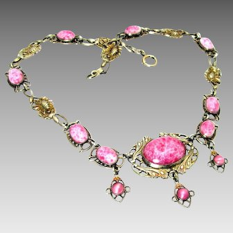Antique, Art Nouveau/Deco, Pink Peking Glass, Necklace w/Lotus Blossoms