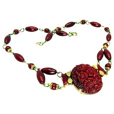 Vintage, Art Deco, Signed Czech, Molded Cranberry Glass & Gilded Festoon Necklace
