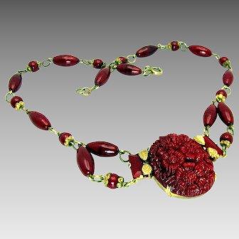 Vintage, Art Deco, Signed Czech, Molded Cranberry Glass & Gilded Festoon Necklace