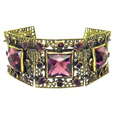 Vintage, Art Deco, Czech, Amethyst Glass & Enamel, Filigree Bracelet