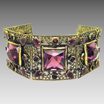 Vintage, Art Deco, Czech, Amethyst Glass & Enamel, Filigree Bracelet