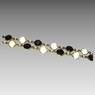 Vintage, Art Deco, Simulated Onyx & Rock Crystal, Bezel-ed Glass Necklace