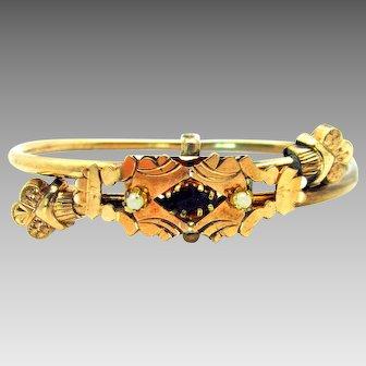 Antique, Victorian, Fine Rolled Rose Gold & Simulated Garnet, Cross Over Bangle Bracelet