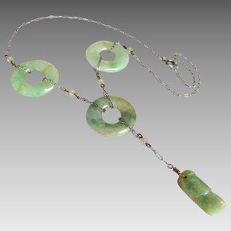 Vintage, Art Deco, Chinese, Jade-Jadeite Lifesaver & Sterling Lavaliere Necklace