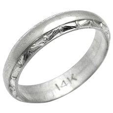 Vintage, Art Deco, Men's 14K White Gold Wedding Band Ring w/Geometric Highlights
