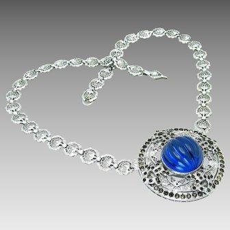 "Antique, Edwardian, Signed ""Helgen"" Sapphire Blue Melon Glass & Rhodium Filigree Necklace"