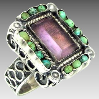 """RARE, Early  Matilde Poulat """"MATL"""" Amethyst & Turquoise Sterling Silver Ring"""