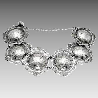 "Vintage, 1930-40's, Mexico, ""980"" Silver, Aztec Calendar, Filigree Bracelet"