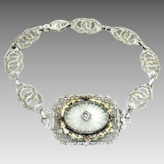 Vintage, Art Deco, Camphor Glass, Silver & Gold-Plated Filigree Bracelet
