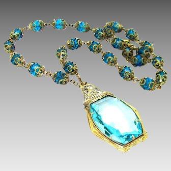 Vintage, Art Deco, Czech, Caribbean Blue Glass & Gilded Filigree Pendant Necklace