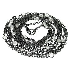 Antique, Victorian, 57 Inch Paste & Gunmetal, Lorgnette Guard Chain Necklace