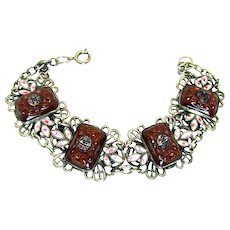 """Vintage, Art Deco, """"Chinese Motif"""" Czech Molded Carnelian Glass & Enamel Bracelet"""