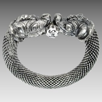 Antique, Rare Rajasthan, India, Double Makara Head, Sterling Silver Bracelet
