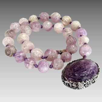 """Antique, Art Nouveau, Chinese, Signed  """"LEE"""" Carved Amethyst & Sterling Silver Necklace"""