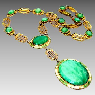 Antique, Art  Deco,  Rare, Luminescent Jade Art Glass & Enamel Necklace
