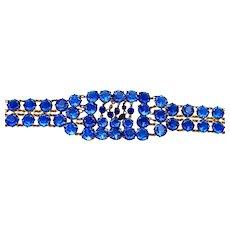 Vintage, Art Deco, Sapphire Blue Glass & Gilded Rhinestone Bracelet