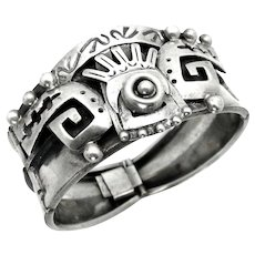 """Vintage, Taxco Mexico Signed """"PHR"""" Sterling Silver Aztec Bracelet"""