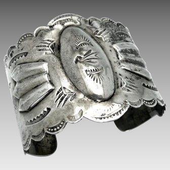Vintage, Big Old 1930-40's Navajo Sterling Silver Repoussé Bracelet