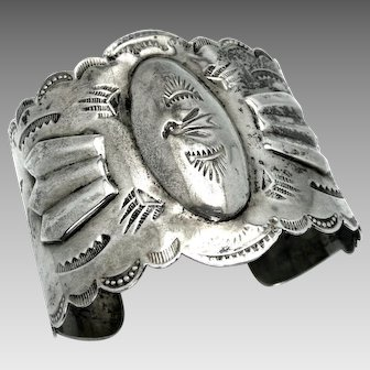 "Vintage, Big Old 1930's Navajo Sterling Silver Repoussé ""Eagle"" Bracelet"