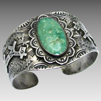 "Vintage, Big Old 1930's Navajo ""Harvey Era"" Turquoise & Coin Silver Horse Bracelet"