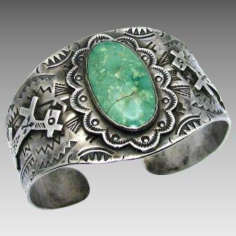 "Vintage, Large 1930's Navajo ""Harvey Era"" Turquoise & Coin Silver Horse Bracelet"