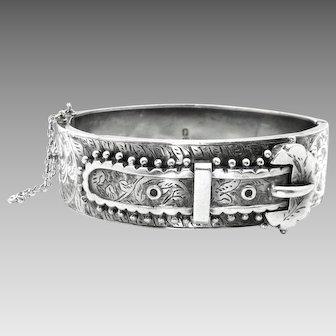 Antique, 1875 Victorian, Aesthetic, Sterling Silver Buckle Bracelet