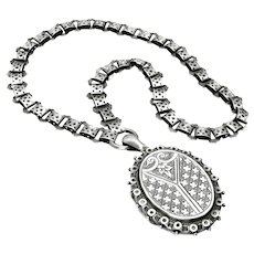 "Antique, Victorian, Aesthetic, Sterling Silver Book Chain Collar & ""1882"" Locket Necklace"