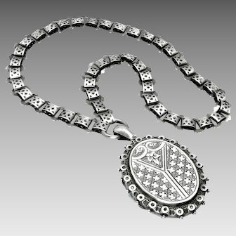 """Antique, Victorian, Aesthetic, Sterling Silver Book Chain Collar & """"1882"""" Locket Necklace"""