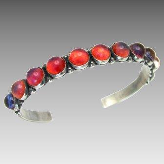 "Vintage, Rare 1940's Navajo ""Dragons Breath"" Sterling Silver Row Bracelet"