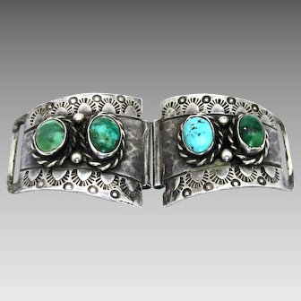 Vintage, Old 1930-40's Navajo Turquoise & Sterling Watchband Tips