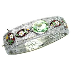 "Vintage, Art Deco, Signed ""Helgen"" Peridot Glass & Enamel, Rhodium Filigree Bracelet"
