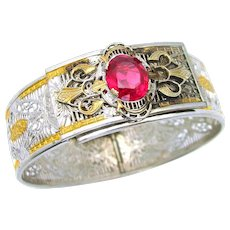 Vintage, Art Deco, Signed Samsan, Ruby Glass & Silver/Gold-Plated Filigree Bracelet