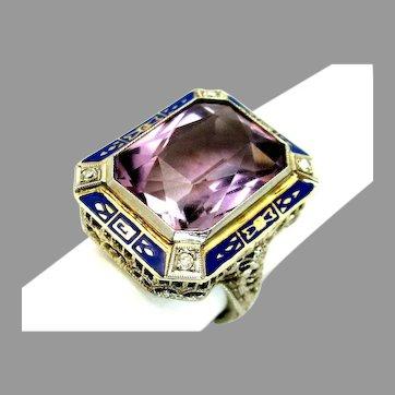 Antique, Art Deco, Enameled, Amethyst & Diamond, 14K White Gold Filigree Ring
