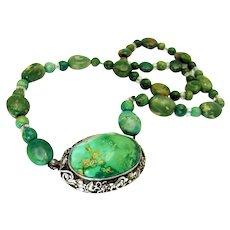 Antique, Art Nouveau/Deco, Natural Turquoise  & Sterling Silver Necklace