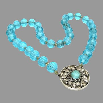 Antique, Chinese, Turquoise Peking Glass & Sterling Butterfly Necklace, Hallmarked
