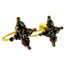 Vintage, Art Deco, Bohemian Blood Red Garnet Earrings