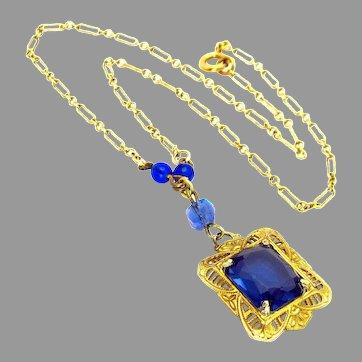 Antique, Art Deco, Sapphire Blue Glass & 14k/GF  Filigree Lavaliere Necklace