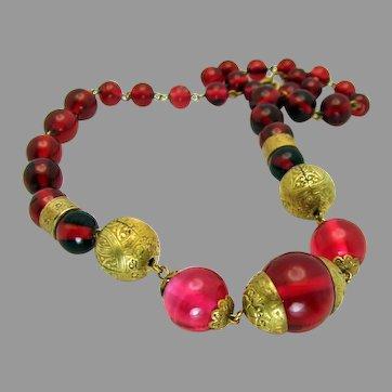 Vintage, Czech, Neiger Bros, Art Deco, Smooth Raspberry Glass & Gilded Brass Necklace