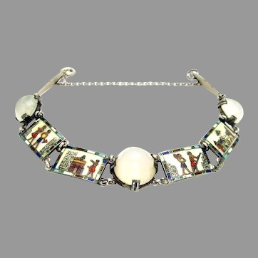 Antique, Rare 1920's Egyptian Revival, Moonstone, Enamel & 935 Silver, Hallmarked Bracelet