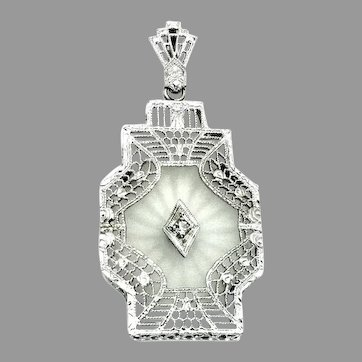 Antique, Art Deco, 14k White Gold, Camphor Glass Pendant w/Diamond