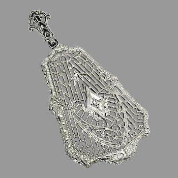 "Antique, Art Deco, ""Esemco"" 10k White Gold Pendant w/Diamond"