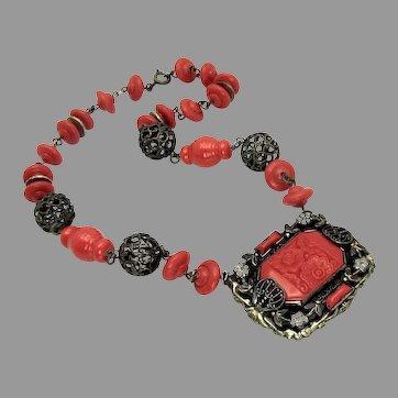 Antique, Art Deco, Red Molded Glass & Enamel Filigree Necklace