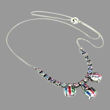 "Vintage, Art Deco, Iris Glass & ""835"" Silver Rhinestone Necklace, Germany"