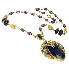 Vintage, Art Deco, Amethyst & Enamel, Gilded Filigree, Czech Necklace