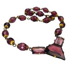 "Vintage, Art Deco, ""Architectural"" Amethyst Glass Necklace…..Czech Signed"